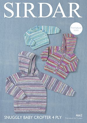 Sirdar Snuggly Baby Crofter 4 Ply Hooded Jacket & Sweaters Knitting Pattern 4662