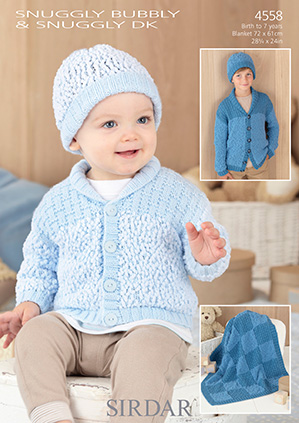 Sirdar Snuggly Bubbly And Dk Cardigan Hat Blanket Knitting Pattern 4558