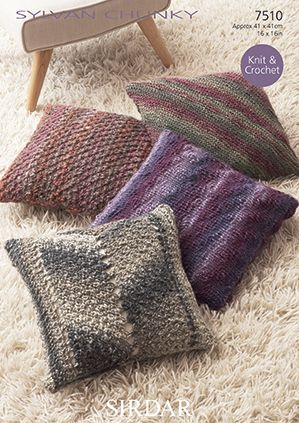 Sirdar Sylvan Cushions Knit and Crochet Pattern 7510 REDUCED £1