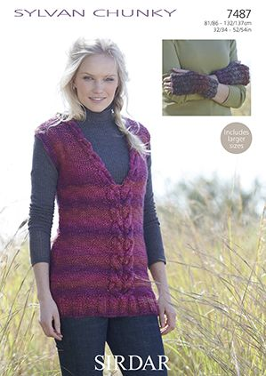 Sirdar Sylvan Tunic Wrist Warmers Knitting Pattern 7487 REDUCED £1