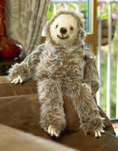 Sloth Faux Fur Toy Knitting Pattern - Laid Back Larry JB282