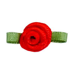 Small Ribbon Roses With Green Leaves 250 RED