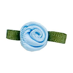 Small Ribbon Roses With Green Leaves 305 Light Blue