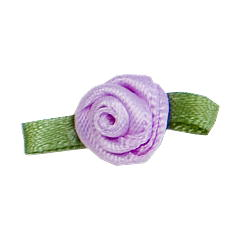 Small Ribbon Roses With Green Leaves 430 LILAC
