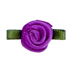 Small Ribbon Roses With Green Leaves 465 PURPLE