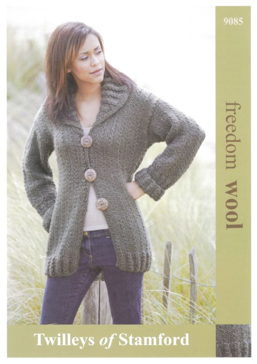 Twilleys Freedom Wool Long Line Cardigan Knitting Pattern 9085