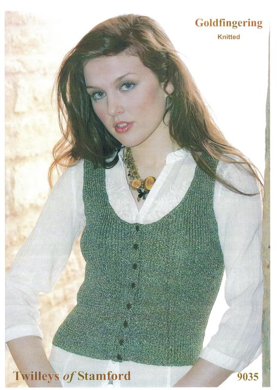 Twilleys Goldfingering Knitted Ladies Waistcoat Knitting Pattern 9035