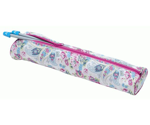 Verna Mosquera Fabric Knitting Needle Case Floral Paisley