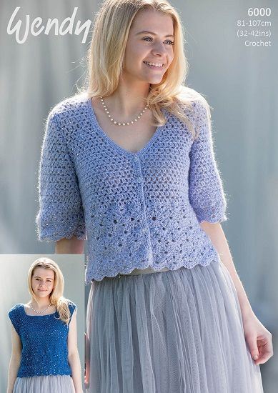 Wendy Celeste Cardigan And Top Crochet Pattern 6000