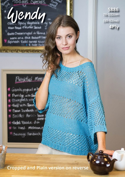 Wendy Cotton 4Ply Mesh Tops Knitting Pattern 5886