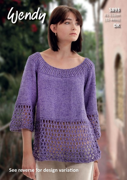Wendy Cotton Silk DK Flared Top and Tunic knitting Pattern 5893