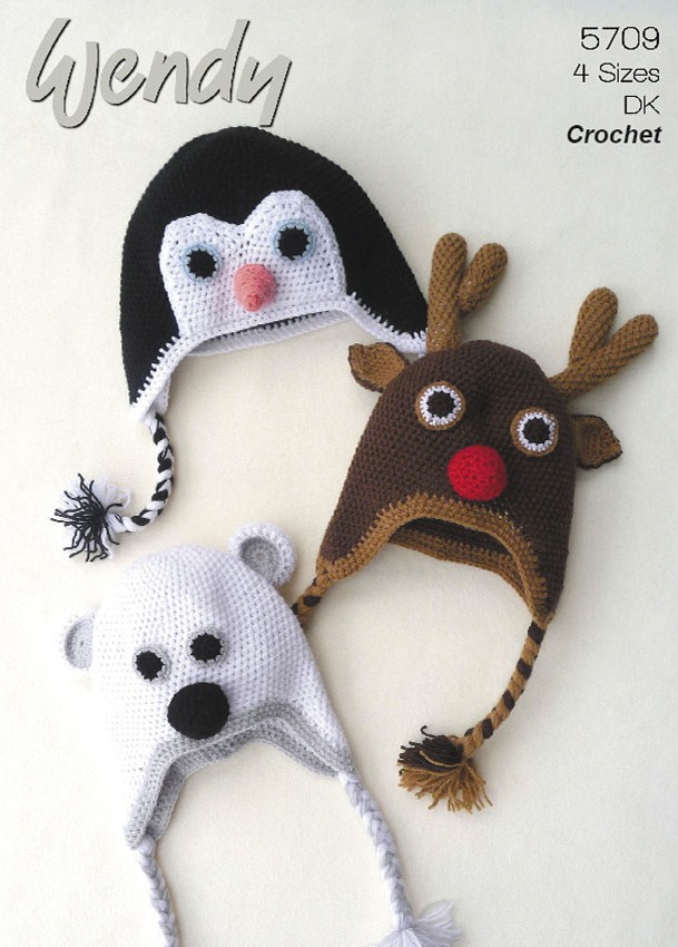 Wendy Crochet Animal Hats PENGUIN REINDEER POLAR BEAR Pattern 5709