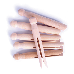 Wooden DOLLY Pegs NATURAL pack 6